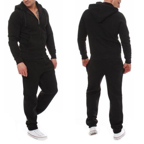Casual Plain Loose Zipper Coat Pants Sport Suit