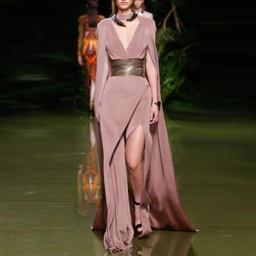 Gorgeous Fashion Deep V Collar Sleeveless Plain Evening Dress With Waistband