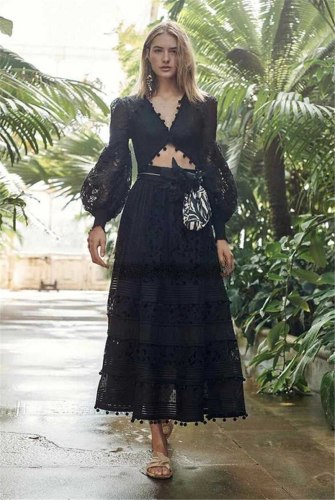 Women Set Puff Sleeve Hollow Out White Lace Shirt With Long Lace Skirt Sexy Two Piece 2020 Maxi Dresses