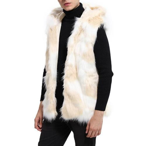 Men's Fashion Faux Fur Hat Vest Long Section