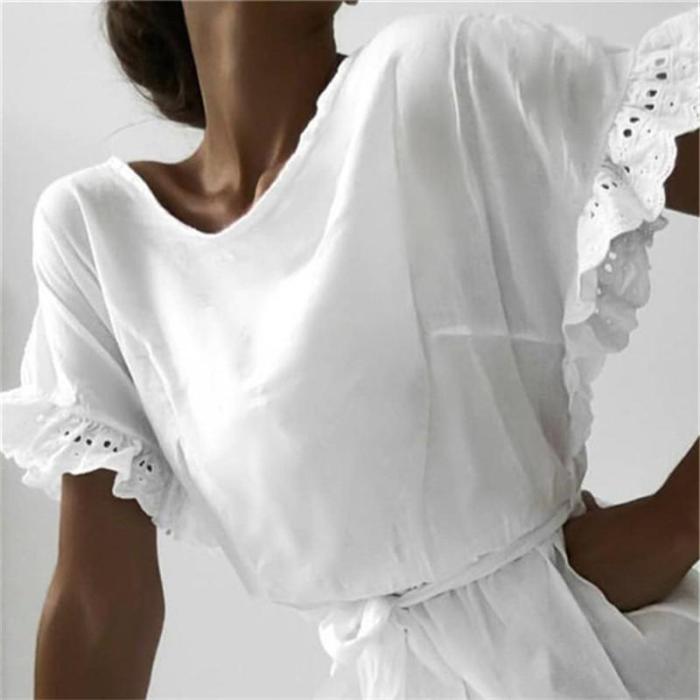 Fashion Round Neck Ruffled Short Sleeve Dresses