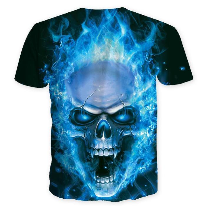 Men's Printed Skull Blue Eyes T-Shirts