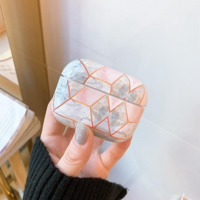 Pink Quartz Marble Pattern AirPods Pro Case Shock Proof Cover
