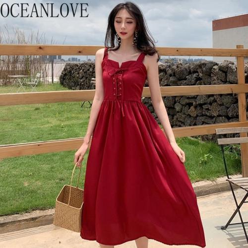 JOYMANMALL Solid A-line Long Dresses Bandage 2020 Fashion Vestidos High Waist Spring Summer Dress Sexy Sleeveless 14832