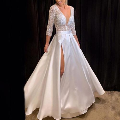 Sexy Deep V Long Sleeve Pure White Maxi Evening Maxi Dress