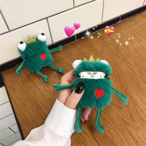 Kawaii Crown Frog Prince Winter Plush AirPod Case