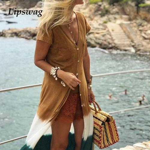 Elegant Summer Short Sleeve Maxi Dress Spring Sexy V Neck Button Cardigan Dress Casual Women Patchwork Pocket Beach Long Dresses