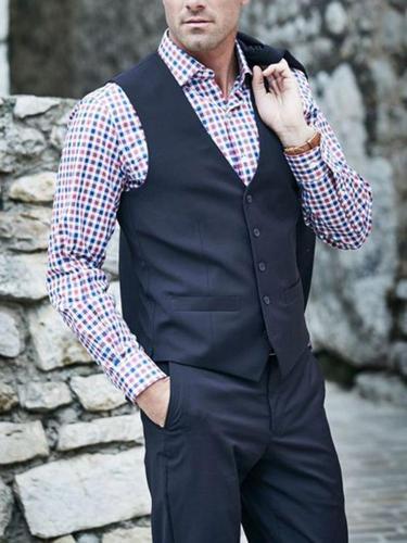 Business formal black sleeveless v neck buttons vest