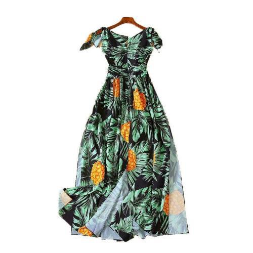 V-neck Sleeveless Print Dresses Split Vintage Sexy Long Printing 2020 Maxi Dresses