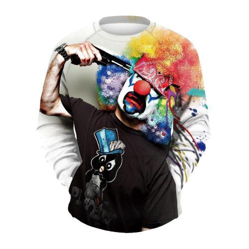 Men's Clown Print Crew Neck Sweatshirt