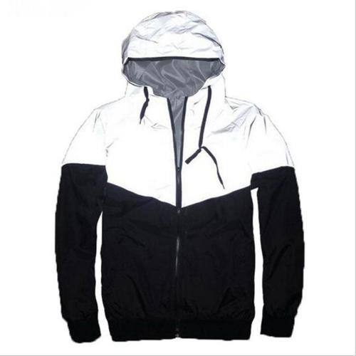 Men 3M Reflective Jacket Windbreaker Patchwork hip hop High street Streetwear skateboard Hooded Jacket Men Fluorescence Coat 4XL