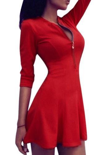 Red Sexy V-Neck Zipper Bodycon Mini Dress