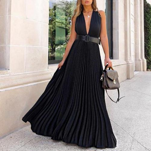 Fashion Solid Color Deep V Pleated Dress