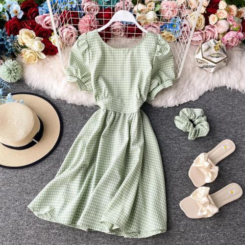 JOYMANMALL Women Summer Plaid Short Dress O Neck Puff Sleeve Sexy Backless Ruched A-line Dress Streetwear French Sweet Short Dress