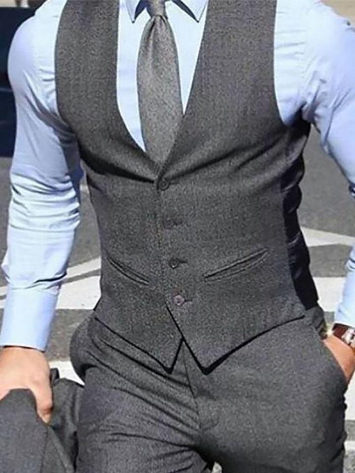 Men's Classic Solid Slim Vest