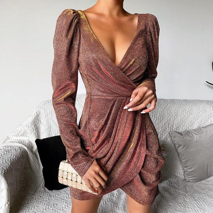 Fashion Wrinkle V-Neck Bodycon Dress