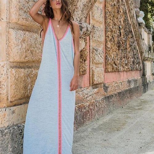 Women's V-Neck Sleeveless Long Dress