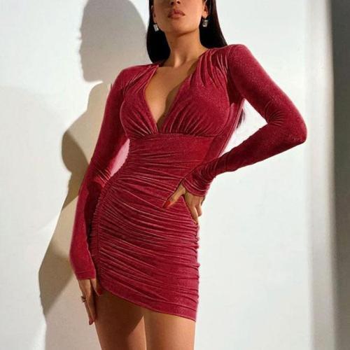 Hip sexy low-cut V-neck pleated irregular temperament dress