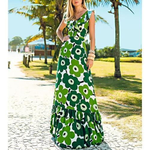 V Neck Sleeveless Bohemia Dress Sexy Long Print Floral Maxi Dresses Backless Sexy Floral 2020 Fashion Maxi Dresses