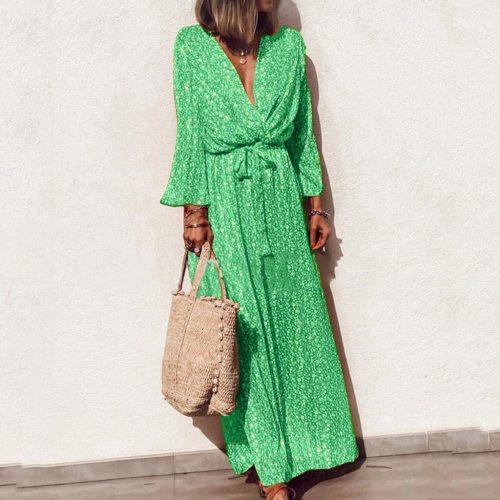 Long V-Neck Flare Sleeve Bohemia Floral Print Bow Bandage summer Women dress Beach Maxi Dresses
