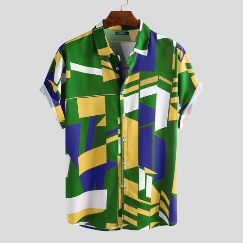 Summer Mens Geometric Print Short Sleeve Slim Fit Lapel Button Casual Shirt