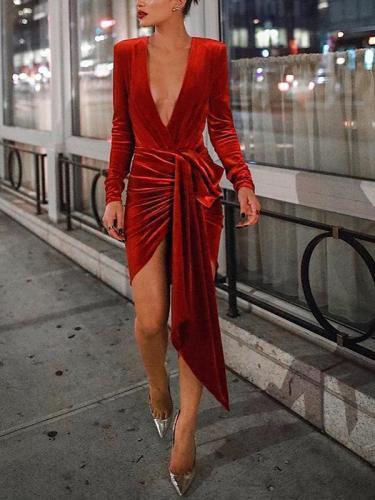Sexy Deep V Neck Belt Tie Irregular Mini Bodycon Dress