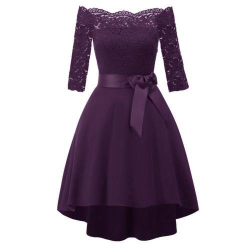 Vintage Elegant Lace evening dress one word shoulder formal dress bowknot evening gown abiye gece elbisesi party dresses