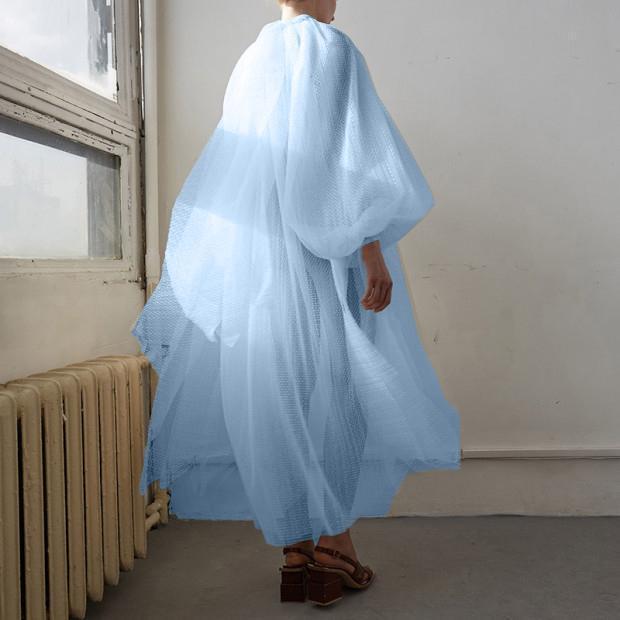 Women's Elegant Organza See-Through Bubble Sleeves Loose Dress