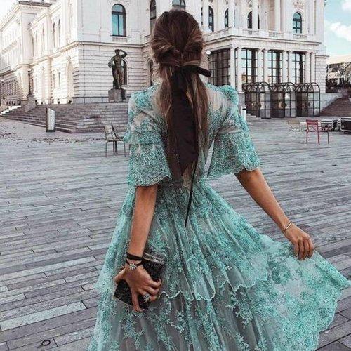 Fashion Lace Short Sleeve Dress
