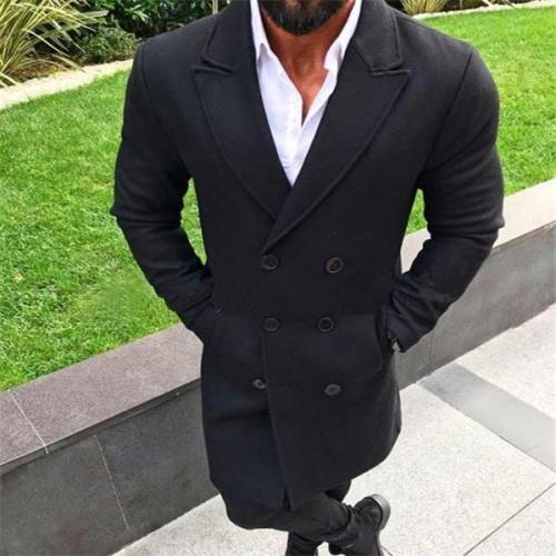 Formal Gentle Business Fashion Slim Solid Color Button Lapel Long Sleeve Men Suit Outerwear