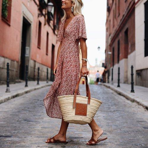 Fashion Deep V-Neck Print   Short-Sleeved Dress