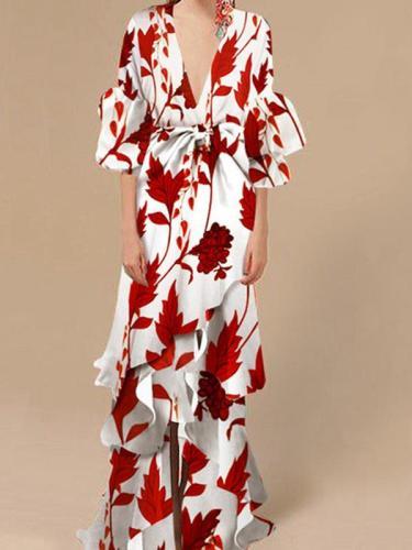 Sexy Floral Deep V Collar Medium Falbala Sleeve Evening Dress