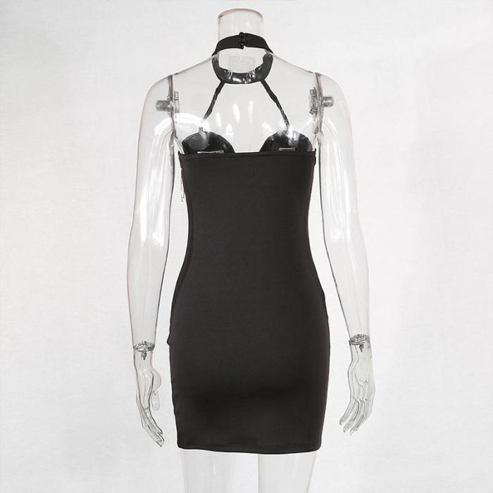 Fashion Halter Deep V Tassel Bodycon Dress
