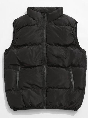 Men's Stand Collar Padded Zip Pocket Vest