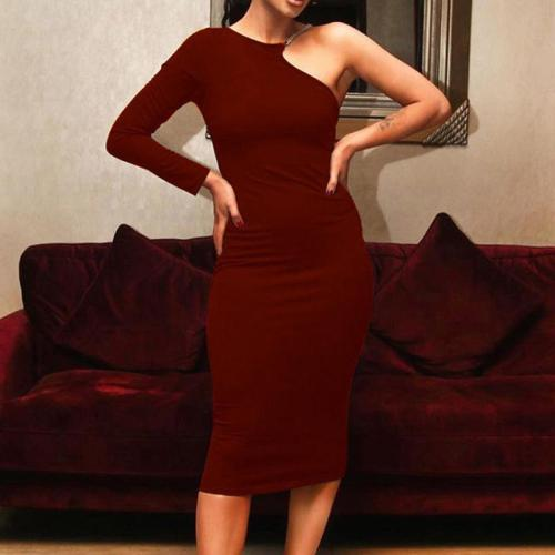 Sexy One Shoulder Halter Long Sleeve Bodycon Dress