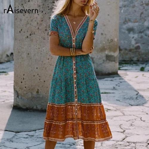 Boho Loose Dress Summer Style Folk Floral Print Tropical Holiday Beach Dress V-Neck Short Sleeve Sundress Plus Size 5XL Dropship
