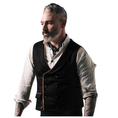 European And American Men's Suit Vest Fashion Retro Mens Solid Color Double-breasted Pocket Vest with Button slim Handsome#G2