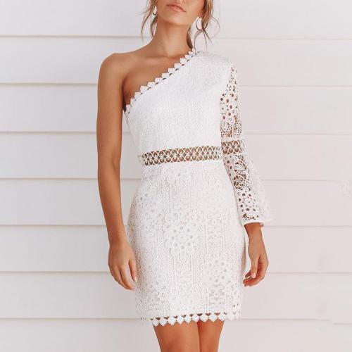 White Lace Oblique Shoulder Sexy Hollow Bodycon Mini Dress