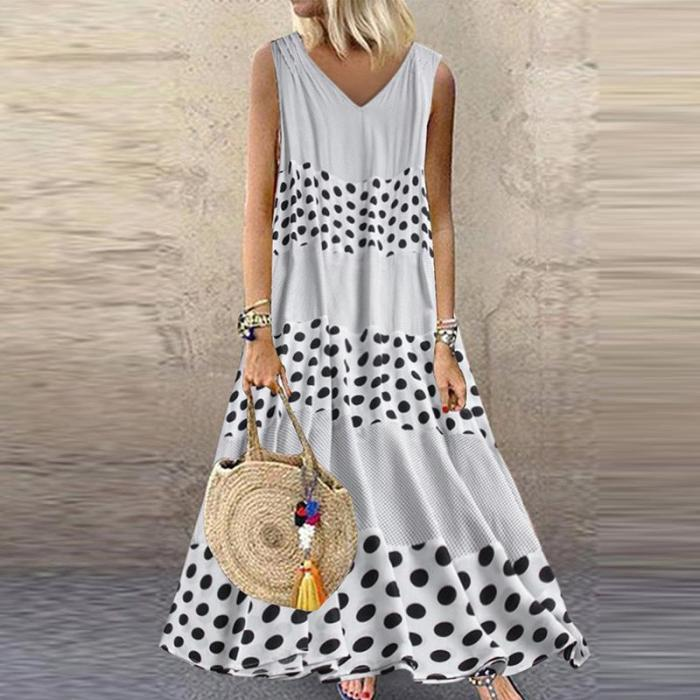 Fashion V-Neck Wave Point Dress