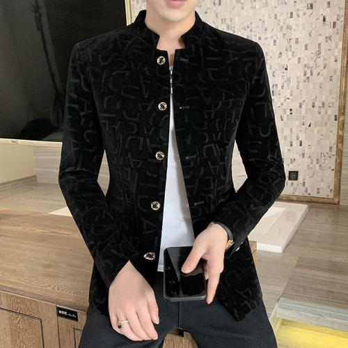 2020 Spring and Autumn New Fashion Casual Men's Pure Color Printing Stand Collar Chinese Style Slim High Quality Blazer for Men