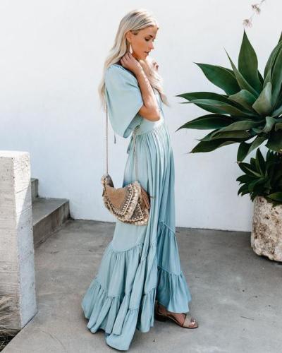 V-neck Bandage Ruffles Vintage Dresses Plus Size Short Sleeve Sexy Long Dresses Women 2020 Maxi Dresses