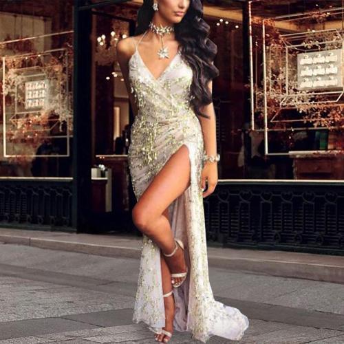 Sexy V-neck Off-the-shoulder  Sequin Evening Maxi Dress