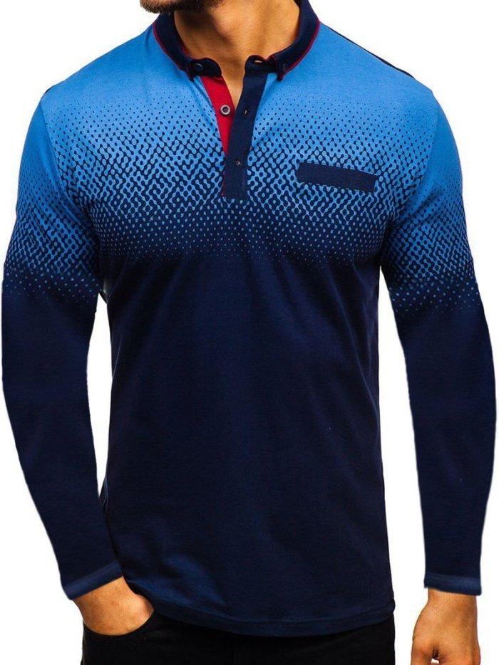 Men's Fashion Digital Print Lapel T-Shirt
