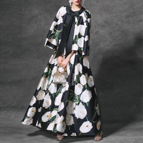 Elegant Round Neck Lace Up Bow Sleeve Print Dress