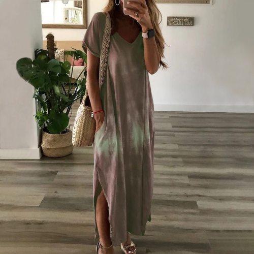Vintage Women's Tie Dye Printing Dress 2020 Summer Print Midi Dress Casual Short Sleeve Female Plus Size 3XL Casual Dress