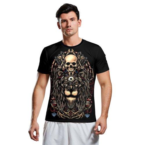 3D Lion Print Short Sleeve Halloween T-shirt
