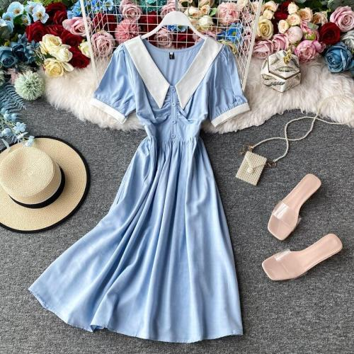JOYMANMALL Women Summer French Sweet Dress 2020 New Peter Pan Collar Short Sleeve A line Dress Retro Elegant Streetwear Dress