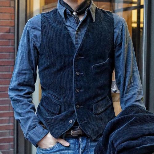 Fashion Stitching Single-breasted Blue Vest