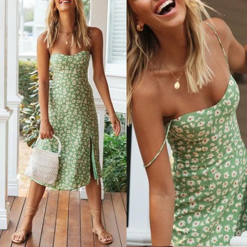 Vintage Daisy Pattern Dress (PURPLE/GREEN )