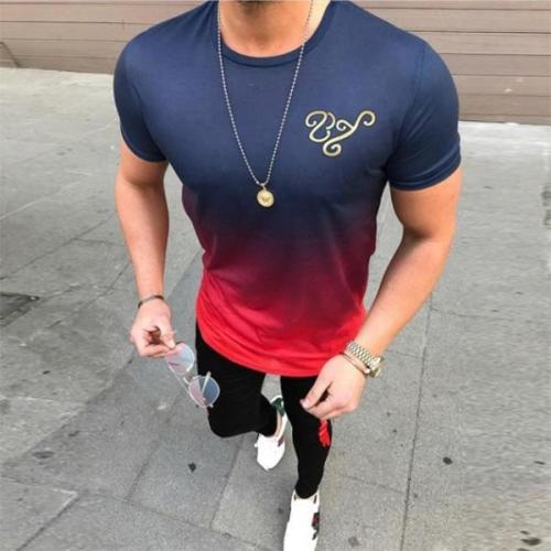 Men's Fashion Color Gradient Short-Sleeved T-Shirt